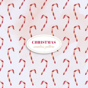 Watercolor candy cane pattern