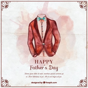 Watercolor card with a suit for father's day