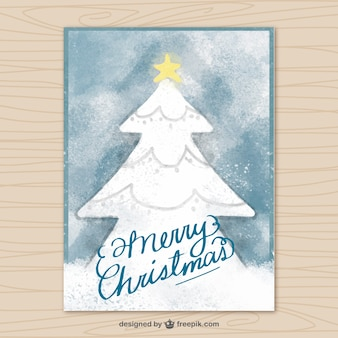 Watercolor card with christmas tree
