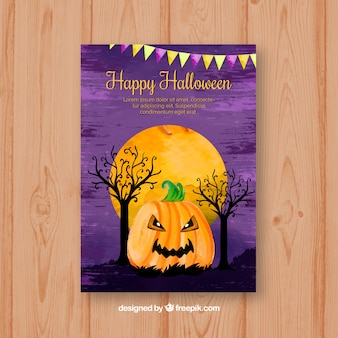 Watercolor card with creepy pumpkin