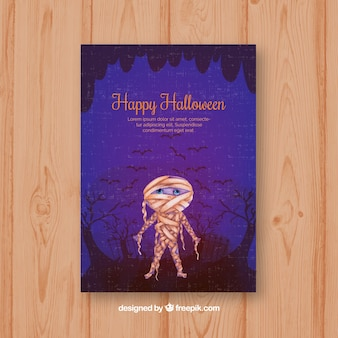 Watercolor card with halloween mommy