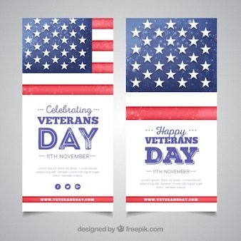 Watercolor cards of veterans day