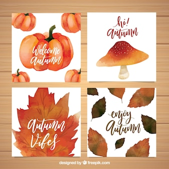 Watercolor cards with leaves, pumpkin and mushroom
