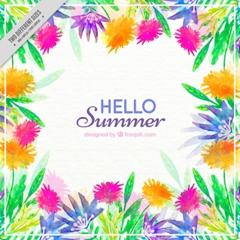 Watercolor cheerful floral background