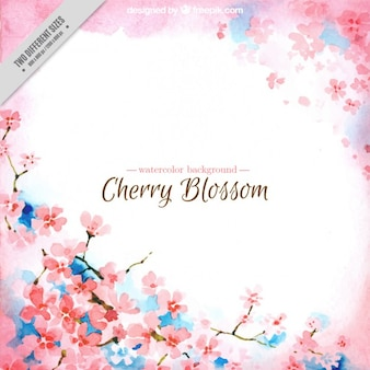 Watercolor cherry blossoms background with blue detalils
