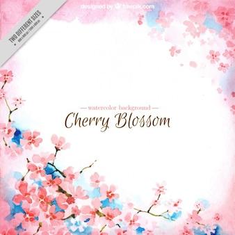 青detalilsと水彩桜の背景