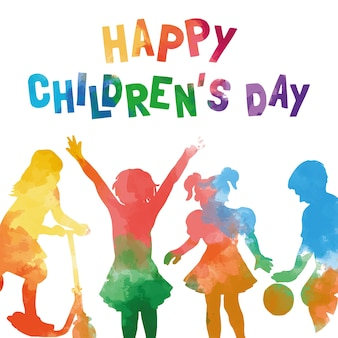 Watercolor children's day card