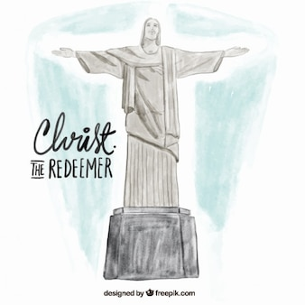 Watercolor christ redeemer