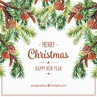 Watercolor christmas and new year background with pine nuts