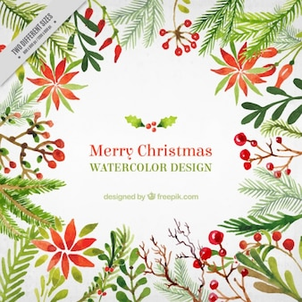 Watercolor christmas background with floral motifs