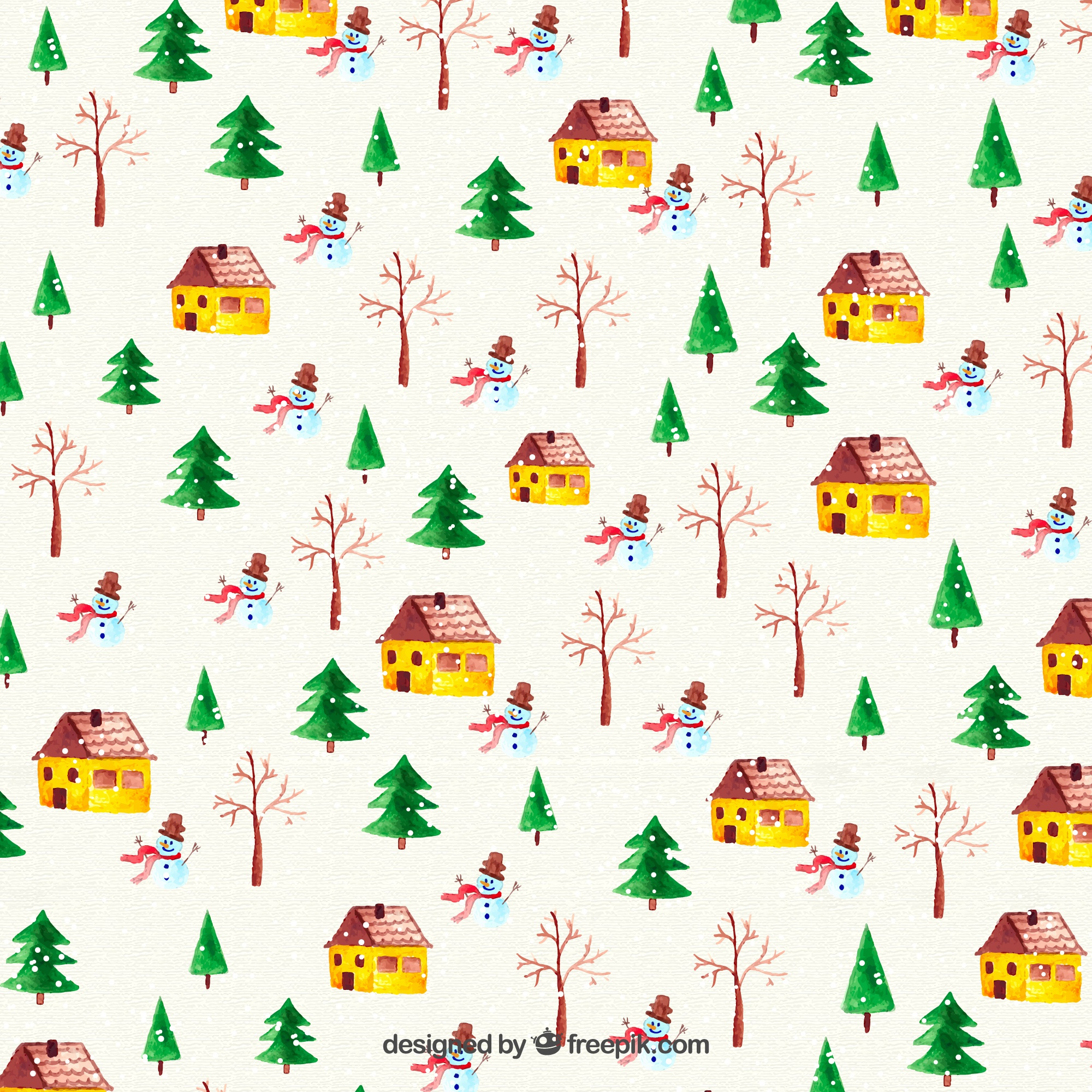 Watercolor Christmas Background with Houses