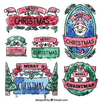 Watercolor christmas badges
