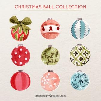 Watercolor christmas balls collection