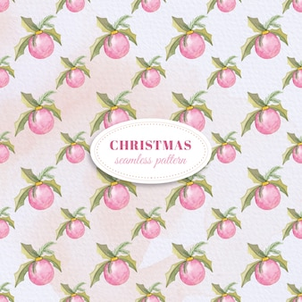 Watercolor Christmas baubles pattern