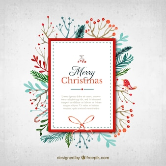 Watercolor christmas card in cute style