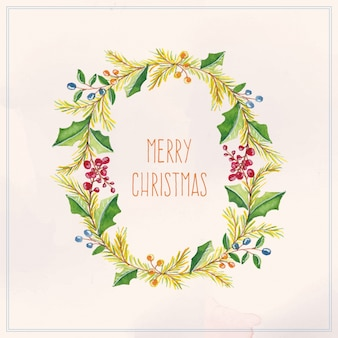 水彩クリスマスカード、塗装花輪