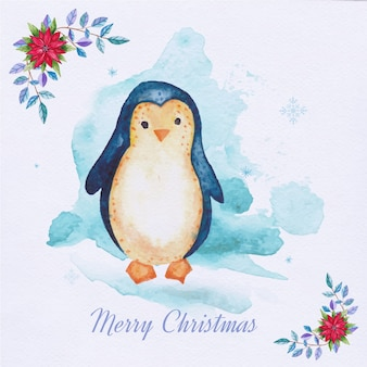 Watercolor Christmas card with penguin and floral ornaments