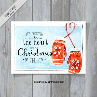 Watercolor christmas card with pretty message