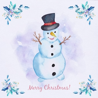Watercolor Christmas card with snowman and branches