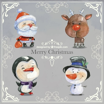 Watercolor Christmas Characters Collection
