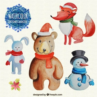 Watercolor Christmas Characters