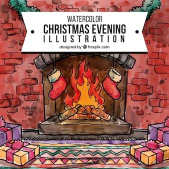 Watercolor christmas evening illustration