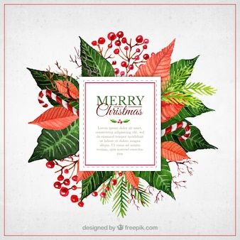 Watercolor christmas flowers label