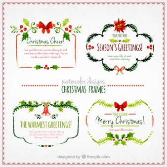 Watercolor christmas frames