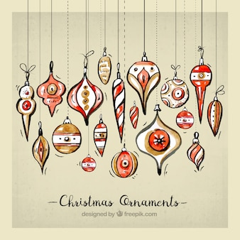 Watercolor christmas ornament collection