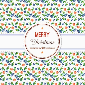 Watercolor christmas pattern with berries