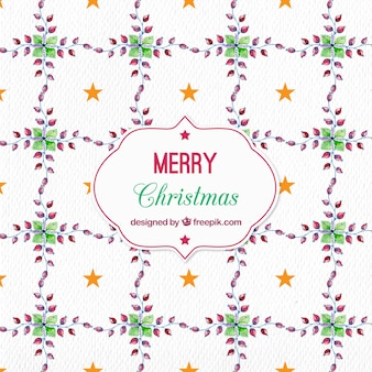Watercolor christmas pattern with floral motifs