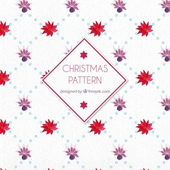 Watercolor christmas pattern with flowers
