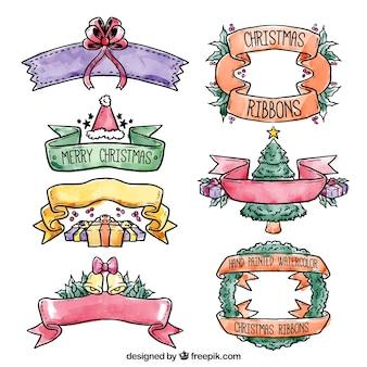 Watercolor christmas ribbons set