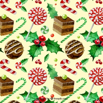 Watercolor christmas sweets pattern