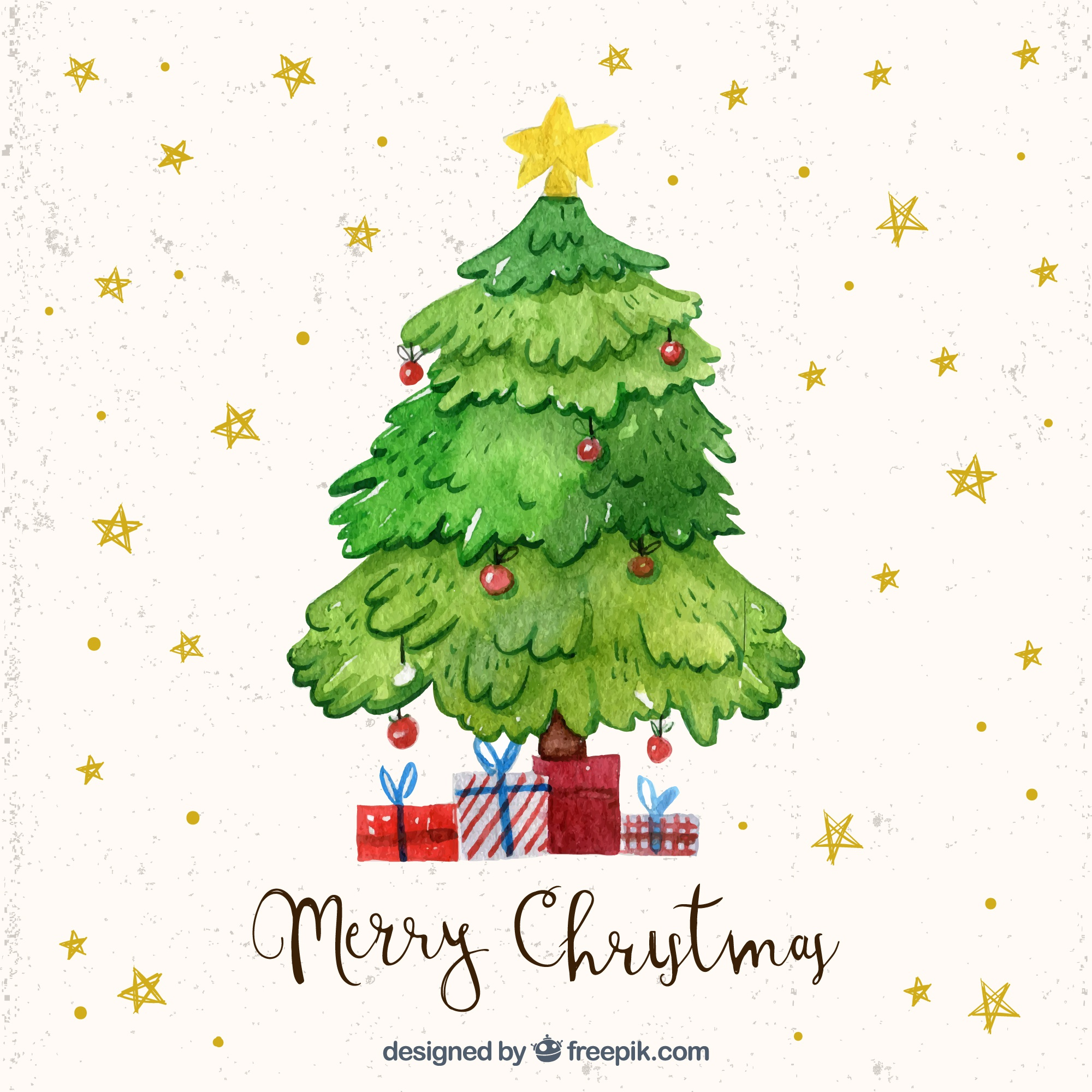 Watercolor christmas tree stars background