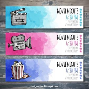 Watercolor cinema tickets set