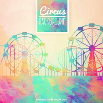 Watercolor circus background in abstract style