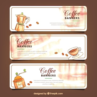 Watercolor coffee banners