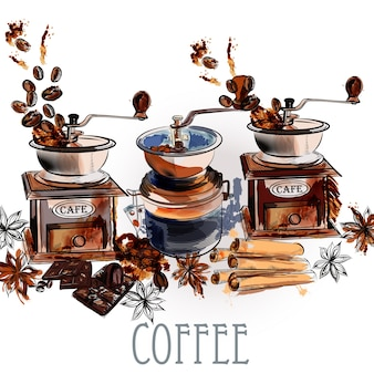 Watercolor coffee mills background