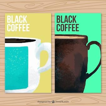 Watercolor coffee mugs banners