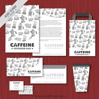 Watercolor coffee shop stationery set in vintage style