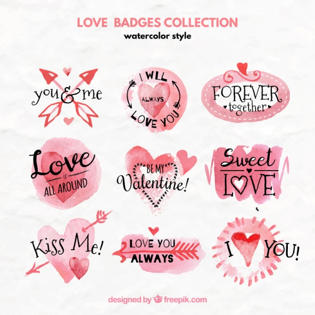 Watercolor collection of love badges