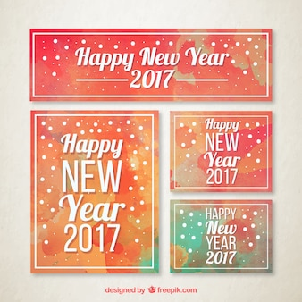 Watercolor collection of new year stationery