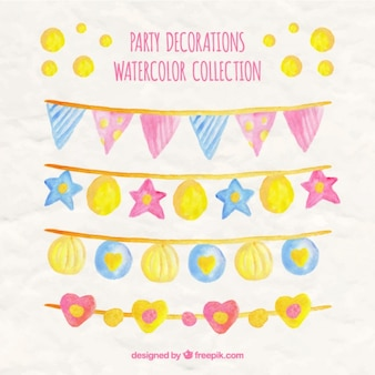Watercolor collection of party garlands