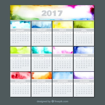 Watercolor colorful calendar 2017