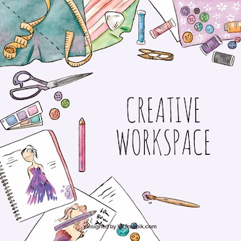 Watercolor creative workspace