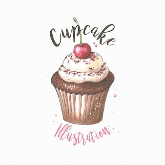 Watercolor cupcake with cherry illustration