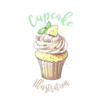 Watercolor cupcake with lemon illustration