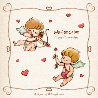 Watercolor cupid characters