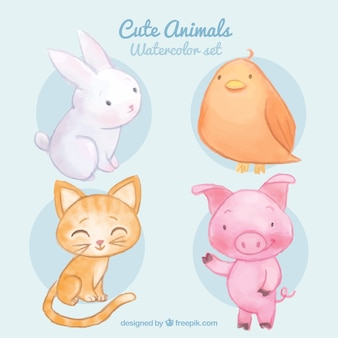 Watercolor cute animals set